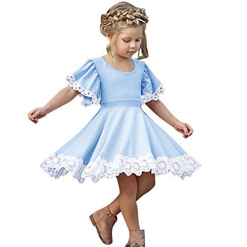 Julhold Kleinkind Kind Baby Mädchen Schlank Kurzarm Spitze Blumen Patchwork Prinzessin Baumwollkleid Kleidung 1-5 Jahre