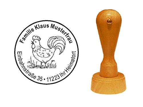 Stempel Adressenstempel Motivstempel « HAHN VINTAGE » Durchmesser ca. Ø 40 mm - mit persönlicher Adresse und Motiv - Bauer Bauernhof Ei Farmer Huhn
