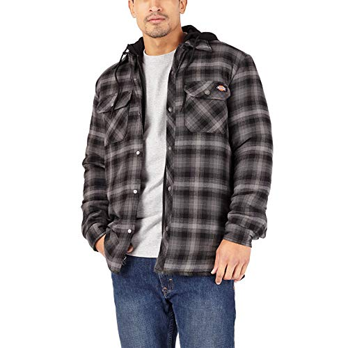 Dickies Herren Big-Tall Relaxed Fleece Hooded Flannel Shirt Jacket Arbeitsoberbekleidung, Schwarzes Ombre Plaid, XX-Large Hoch