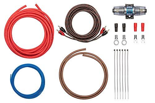 Kabelkit 10mm² fertig konfektioniert - Auto Verstärker Anschluss-Set – mit Powerkabeln, Cinchkabel, Sicherungshalter, Sicherungen – Installations Kit für Endstufen