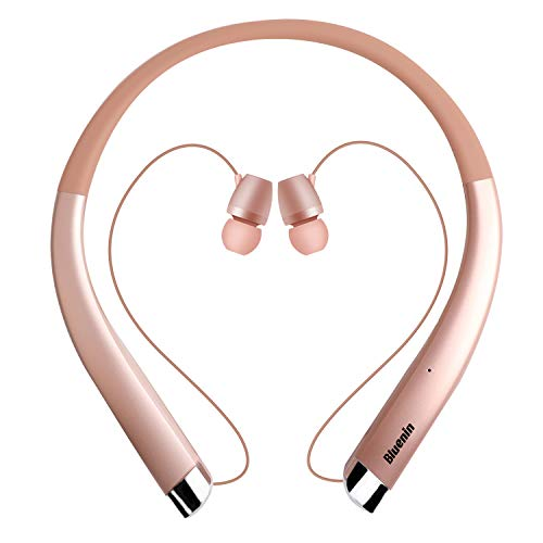 Bluetooth Headphones, Bluenin Bluetooth V5.0 Neckband Wireless Headphones with CVC 6.0 Noise Cancelling Mic,Retractable Earbuds Headset Stereo Earphones for Home Office,Work Out (Rose Gold)
