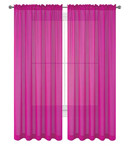 Drape/Panels/Scarves/Treatment Beautiful Sheer Voile Window Elegance Curtains Scarf for Bedroom & Kitchen Fully Stitched and Hemmed, Set of 2 Hot Pink (Hot Pink, 84' Inch Long)