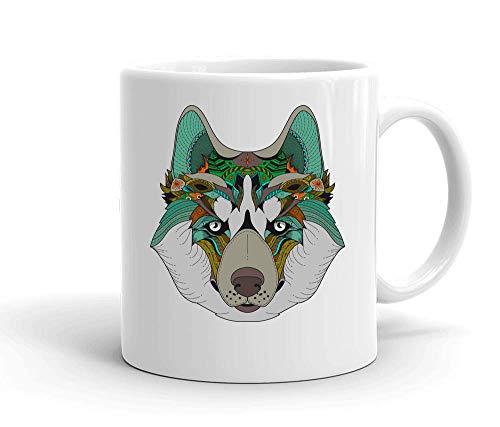 IDcommerce Colorful Ethnic Wolf Tasse en Céramique Blanche pour Le Thé Et Le Café