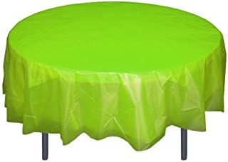 6-Pack Premium Plastic Tablecloth 84in. Round Plastic Table cover - Lime Green