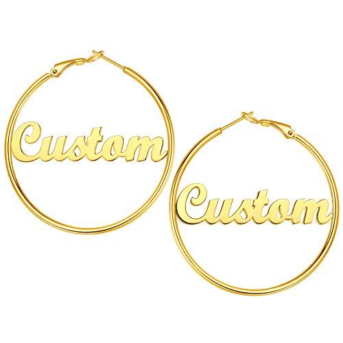 Aros Dorados Acero Inoxidable 316L para Muchachas Pendientes Personalizados Nombres de Identidad Chapado en Oro Amarillo 18K Decoración Orejas