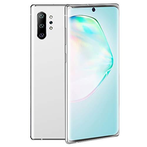 Teléfono inteligente desbloqueado,teléfono móvil Note10 PRO con doble SIM,pantalla curva de 6.8 '' 1440x3040 HD,tarjeta de 2GB RAM 16GB ROM 128G TF,Android 10.0,cámara dual,MTK6580P quad-core (Blanco)