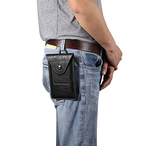 Dmtrab para Elefante Textura Men Ocio Simple Universal Teléfono móvil Paquete de Cintura Caja de Cuero con Ranura for Tarjeta, Adecuado for teléfonos Inteligentes de 6.7-6.9 Pulgadas (Color : Black)
