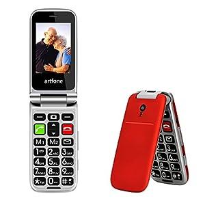 artfone CF241A Teléfono Móvil para Personas Mayores Teclas Grandes para Mayores, SOS Botón, Cámara, con una Base de Carga-Rojo
