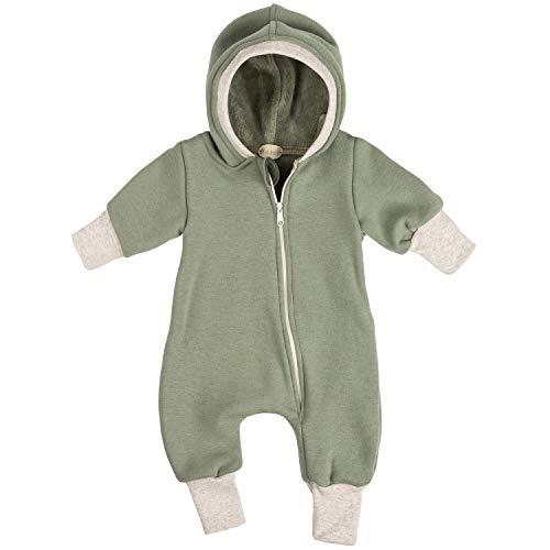 """Lilakind"""" Baby Jungen Mädchen Overall Einteiler mit Kapuze Happy Fleece Khaki Creme Natur Gr. 68/74 - Made in Germany"""