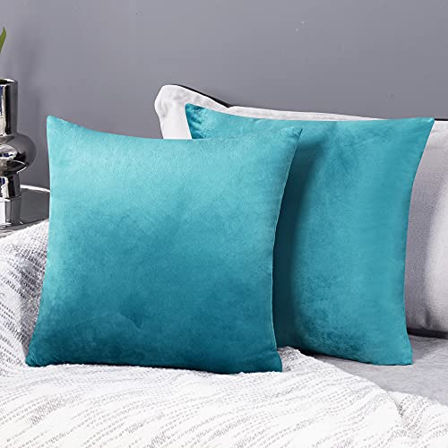 Deconovo Fundas para Cojines de Almohada del Sofá Cubierta Suave Decorativa Protector para Hogar 2 Piezas 45 x 45 cm Turquesa