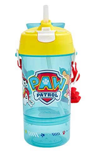 Paw Patrol Reusable Water Bottle with Screw on Snack Cup Base - Official Merchandise by Polar Gear, Drinking Bottle School Nursery Sports Picnic BPA Free 20cm high blue yellow