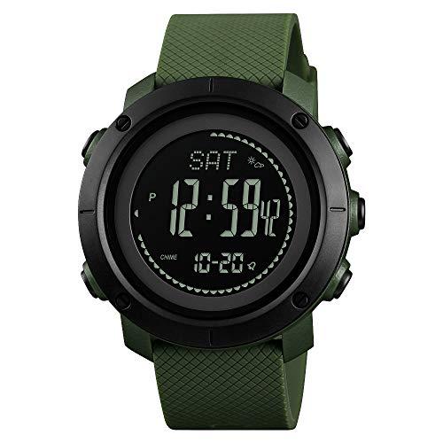 FeiWen Unisex Outdoor Multifunktional Sport Digitale Uhren LED Doppelte Zeit Kompass Schrittzähler Höhenmesser Luftdruck Thermometer Kalorie Armbanduhren mit Kautschuk Band (Grün)
