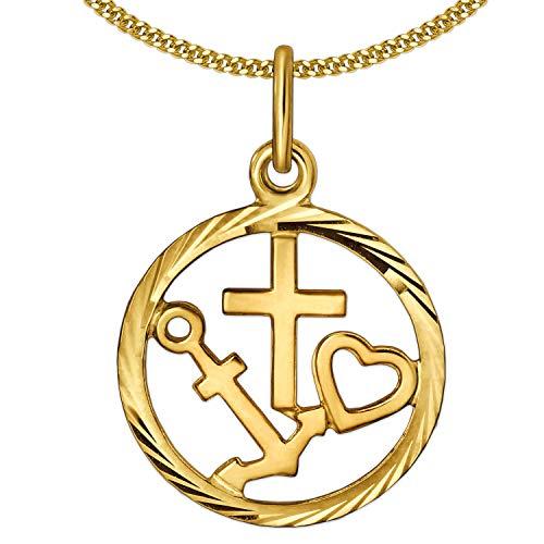 Clever Schmuck Set gouden kleine dames hanger als medaille Ø 14 mm geloof - liefde - hoop, glanzende rand gediamanteerd en fijne ketting 45 cm beider 333 goud 8 karaat