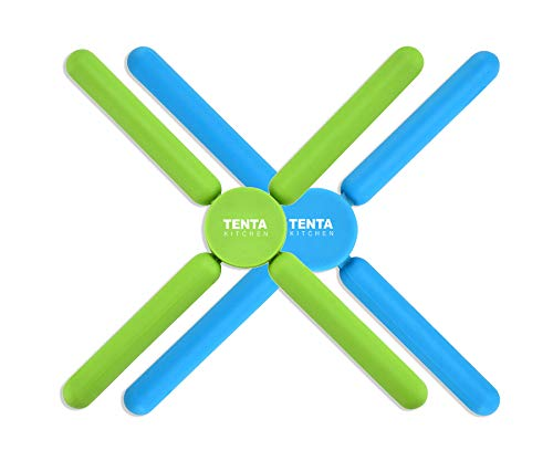 TENTA Kitchen Utility Foldable Silicone Trivets, Expandable/Collapsible Trivets, Stretch Expandable Silicone Trivet, Green/Blue (Pack of 2)