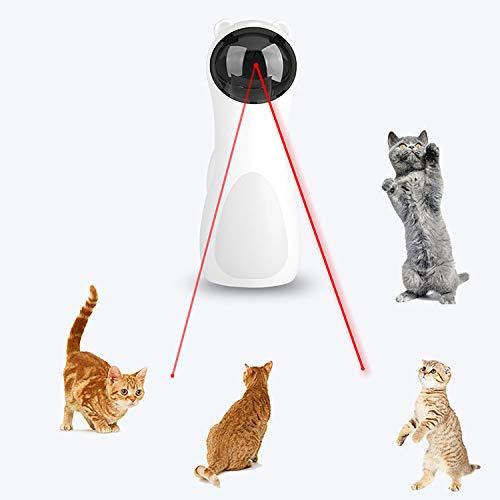 FIXTOR Laser Katzenspielzeug Automatischer, Elektrisches Katzenspielzeug, Interaktives Laserspielzeug für Kätzchenhunde - USB-Aufladung/Batteriebetrieb, Hochlegen, 5 zufällige Muster