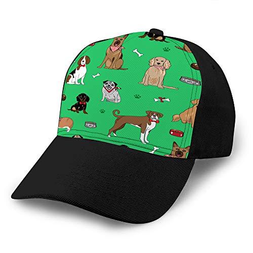 Gorra de béisbol Unisex Sombrero de Camionero Sombrero de Vaquero Adulto Hip Hop Snapback Perros con Cuencos Verde Gorra de béisbol de Mezclilla Personalizada