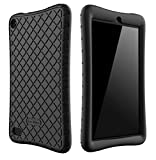 Bear Motion Silicone Case for All-New Fire 7 Tablet with Alexa - Anti Slip Shockproof Light Weight Kids Friendly Protective Case for Amazon Kindle Fire 7 (ONLY for 7th Generation 2017 Model) (Black)