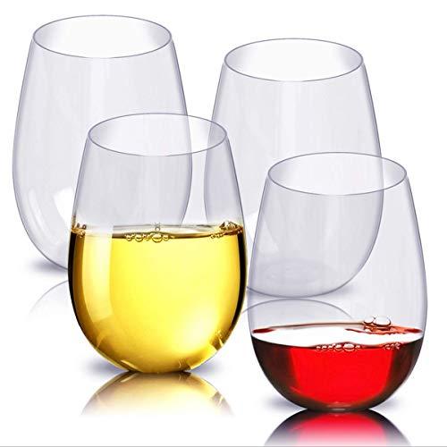 WANGPING 4 copas de vino de plástico sin tallo, irrompible, irrompible, desechables, reutilizables, irrompibles, para el hogar, bares, camping, oficina