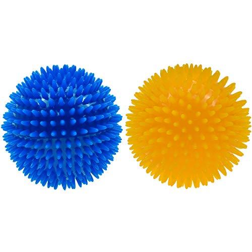 atopo 2 Stück Hunde Quietschball Quietschspielzeug Hunde Kauspielzeug hüpfender stacheliger Ball Gummiball Welpenspielzeug für kleinen mittelgroßen Hund Spielen und kauen, 11 cm