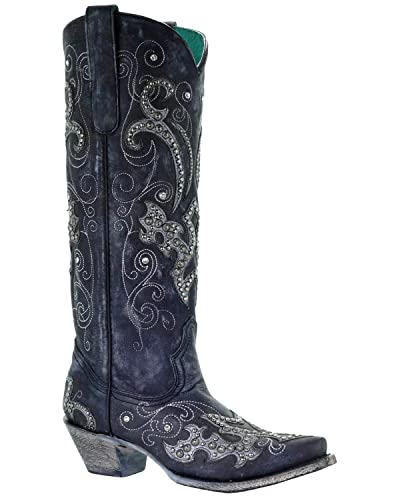 CORRAL Women's Tall Studded Overlay and Crystals Cowgirl Boot Snip Toe Black 11 M