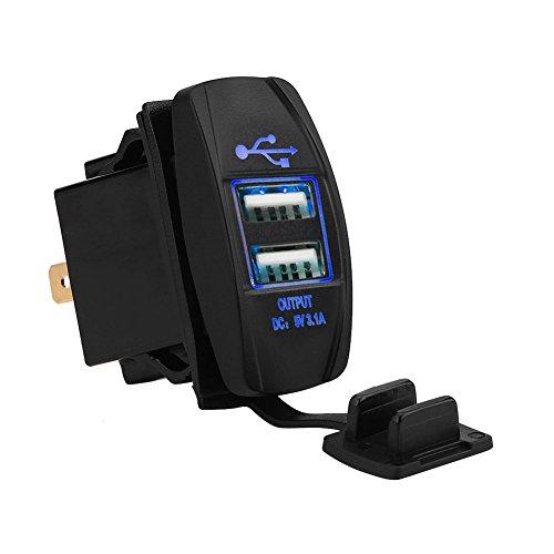 12-24V 3.1A Dual USB Ladegerät Steckdose für Auto Motorrad Wohnmobil Fahrzeuge GPS(Blau)
