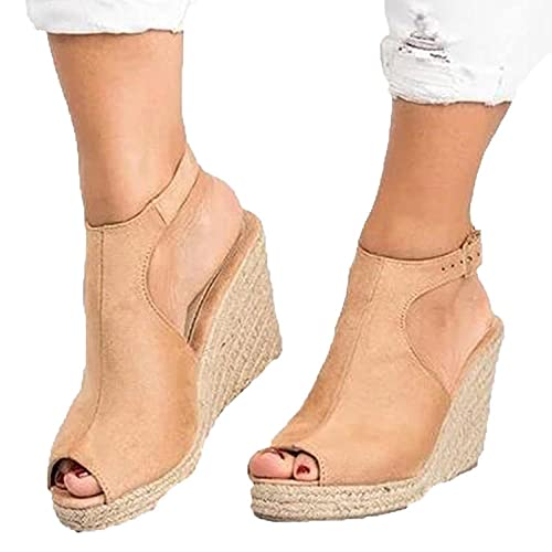 ZZLHHD Casual Alpargatas de Cuña Moda,Fashion Wedge Sandals, Casual Thick Bottom Women's Shoes-Khaki_41,B1