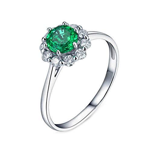 Daesar Anillo de Oro Blanco 18 Kilates Mujer,Flor Redondo Esmeralda Verde 0.5ct Diamante 0.31ct,Plata Verde Talla 13,5
