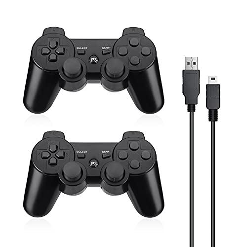 Powerextra Mando Inalámbrico para PS3, 2 Pack Wireless Bluetooth Six-Axis Playstation 3 Gamepad Joystick Controlador con Doble Vibración Recargable Controller con Cable para PS-3(Negro)