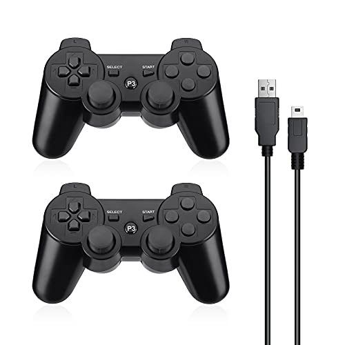 Powerextra Wireless Controller Compatible with PS-3, 2 Pack High Performance Gaming Controller with Upgraded Joystick for Play-Station 3 (Black)