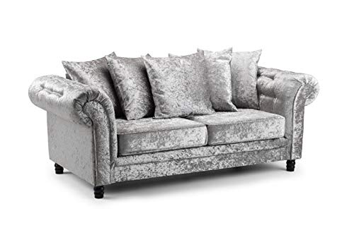 Honeypot - Sofa - Fulham - Silver - Crushed Velvet - 3 Seater Sofa