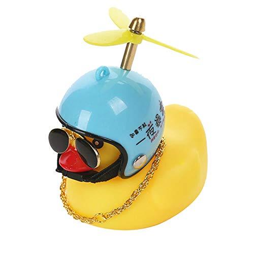 QKFON La decoración del pato, pequeño cuerno de luz de pato amarillo para decoración del coche Windbreaker Duck con casco de goma de pato juguete para la decoración del