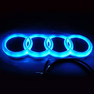 Jianzhucail Cool LED Emblem Logo Grid LED Badge Front Light, Front Car Grill Badge, Auto Illuminated Logo, Glowing Rings for Audi A3 S3 RS3 A4 A5 A6(273 x 93 mm Blue)