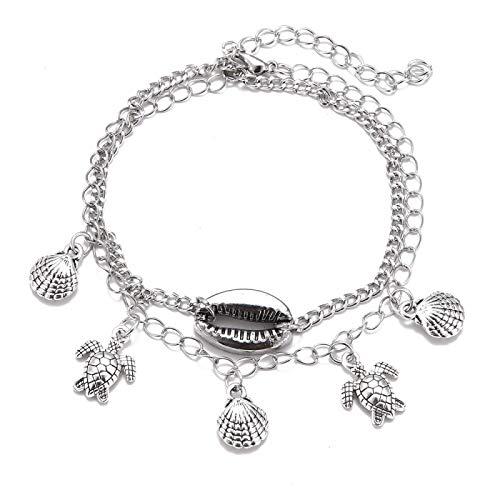 Shangwang - Colgante de escamas de tortuga, concha de San Jacques, pulsera de tobillo para mujer, plata