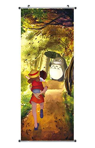 CoolChange Großes Totoro Rollbild / Kakemono aus Stoff, 100x40cm, Motiv: Totoro im Wald