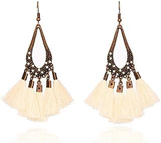 Earrings 2 Pairs Women Tassel Bohemia Vintage Water Drop Shape Earring(Pink) Earrings (Color : Beige)