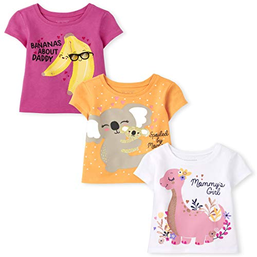 The Children's Place Baby and Toddler Girl Short Sleeve Graphic T-Shirt 3-Pack, Banana Family, 18-24 Months