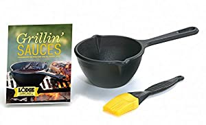 15 oz Cast Iron Melting Pot with Silicone Brush and Recipe Book Cast iron construction for superior heat dispersion and heat retention Seasoned at the foundry for a virtual non-stick surface Perfect for warming, simmering or melting foods Basting bru...