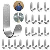 Self Adhesive Hooks, Wall Hooks for Hanging Robe Bath Towel Stainless Steel Adhesive Hooks Rustproof Wall Hooks Wall Hanger Waterproof Utility Hooks for Kitchen Bathroom Office Closet Door 20 Pack