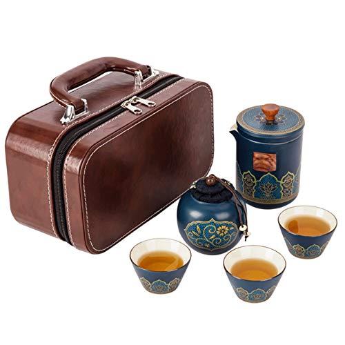 Juego de té portátil de viaje con maleta, mini tetera de porcelana, 3 tazas de té y 1 recipiente...