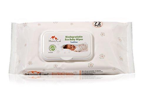 Toallitas para Bebé Biodegradable Eco Baby Wipes de Mommy Care. Sin SLS y sin parabenos Fórmula Natural Suavemente Perfumada, Ideal para la Piel Sensible del bebé. Excelente como Desinfectante para Manos y Cara 1 paquete contiene 72 toallitas