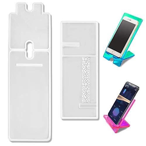 2 juegos de moldes de resina para teléfono móvil siamés, soporte de resina AIFUDA para teléfono de fundición de resina, molde de silicona para DIY Craft Soporte de teléfono – 1 largo, 1 corto