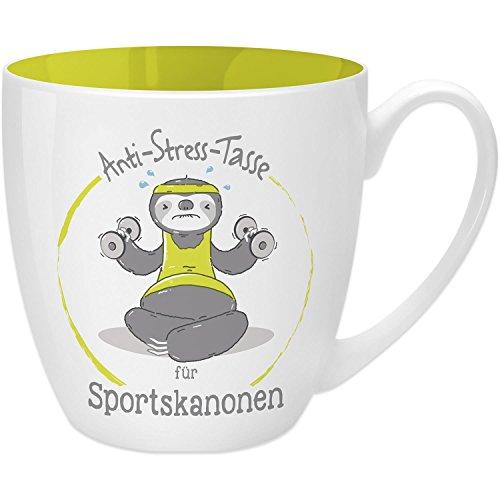 Gruss & Co 45522 Anti-Stress Tasse für Sportskanonen, 45 cl, Geschenk, New Bone China, Gelb, 9.5 cm