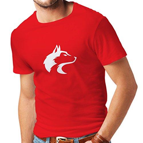 lepni.me Camisetas Hombre la Llamada del Lobo Salvaje - gráfico Genial con sentimiento Espiritual (Medium Rojo Blanco)