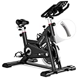 JOBUR Magnetic Exercise Bikes with Ipad Mount, Spin Bike with Comfortable Seat Cushion, Quiet Magnetic Resistance Excersize Bike, Stationary Bike for Seat & Handle Height Adjustable(Black)