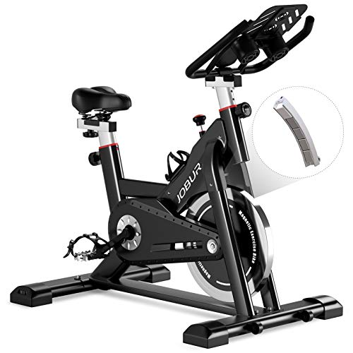 JOBUR Magnetic Resistance Indoor Cycling Bike Stationary -Exercise Bikes with Ipad Mount and Comfortable Seat Cushion(Black)