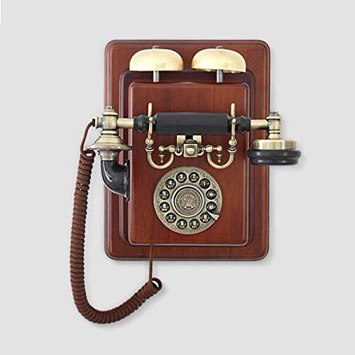 VERDELZ Teléfono Fijo Fijo, Teléfono Retro, Teléfono Vintage, Antiguo Europeo, Teléfono De Pared, Línea Fija, Hogar, Retro, Cuerpo De Madera Maciza, Pared