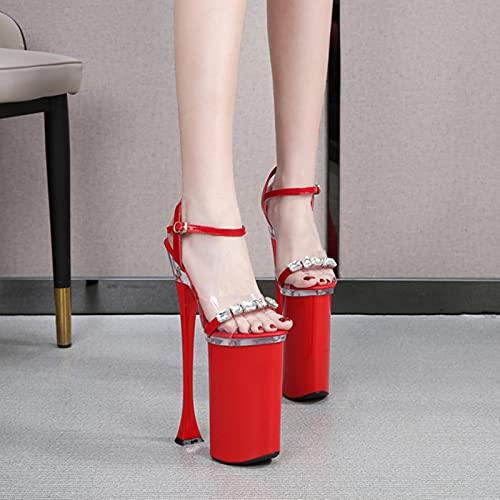 26CM Sandali Super Alti Scarpe con Plateau Diamante PVC Discoteche Divertenti Scarpe Peep Toe Spike Tacchi Alti Sandali da Donna Estate