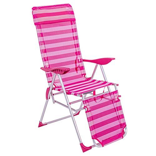 LOLAhome Sillón de Playa con reposapiés de 5 Posiciones Fucsia de Aluminio y textileno de 115x66x61 cm