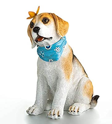 """Plow & Hearth Beagle Puppy Garden Statue with Solar Butterfly, Discrete Solar Panel, Realistic Details, LED Butterfly, Crafted from Durable, Weather-Safe Resin, Hound Pup, 13¼""""L x 8¼""""W x 6¾""""H"""