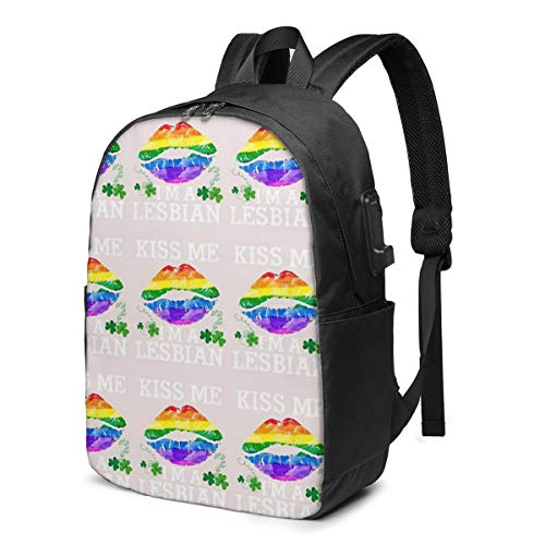 Kiss Me I'm A Lesbian T-Shirt St Patricks Day Lips LGBT USB School Backpack Large Capacity Canvas Satchel Casual Travel Daypack for Adult Teen Women Men 17in